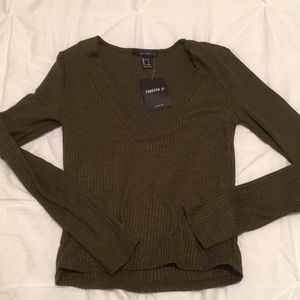 Forever 21 ribbed crop top long sleeve
